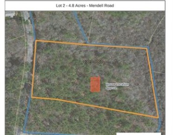 Aerial view of 0 Mendell Rd, Rochester Ma with lot boundary lines